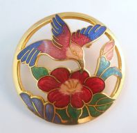 Large Cloisonne Enamel Bird And Flower Brooch.